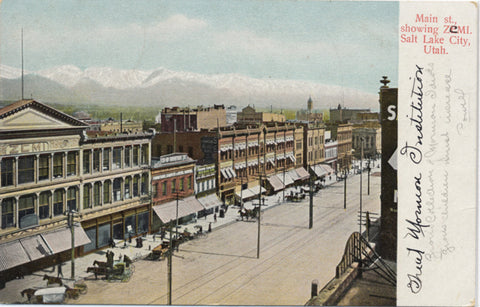 Salt Lake City Utah Main Street Vintage Postcard circa 1905 - Vintage Postcard Boutique