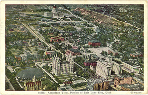 Salt Lake City Utah Aeroplane View Vintage Postcard 1933 - Vintage Postcard Boutique