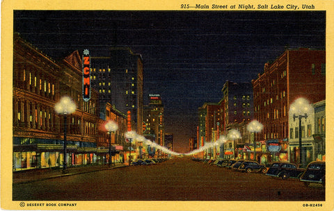 Salt Lake City Utah Main Street Night Vintage Postcard 1953 - Vintage Postcard Boutique
