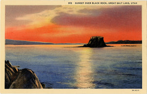 Salt Lake Utah Black Rock Great Salt Lake Sunset Vintage Postcard (unused) - Vintage Postcard Boutique