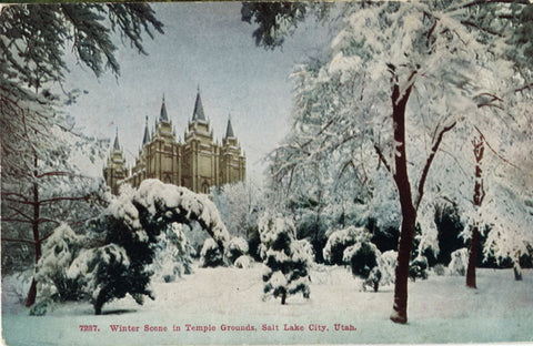 Salt Lake City Utah Temple Square Grounds Winter Scene VIntage Postcard (unused) - Vintage Postcard Boutique
