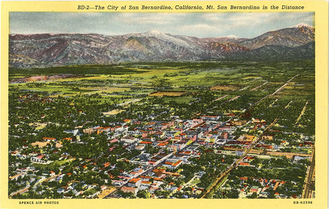 San Bernardino California Bird's Eye View Vintage Postcard (unused) - Vintage Postcard Boutique