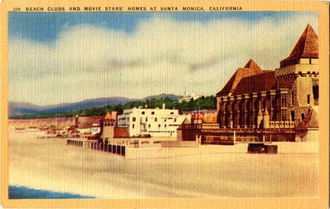 Santa Monica California Beach Clubs & Movie Stars' Homes Vintage Postcard 1947 - Vintage Postcard Boutique