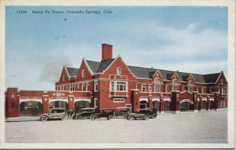 Colorado Springs Santa Fe Depot Colorado Vintage Postcard - Vintage Postcard Boutique