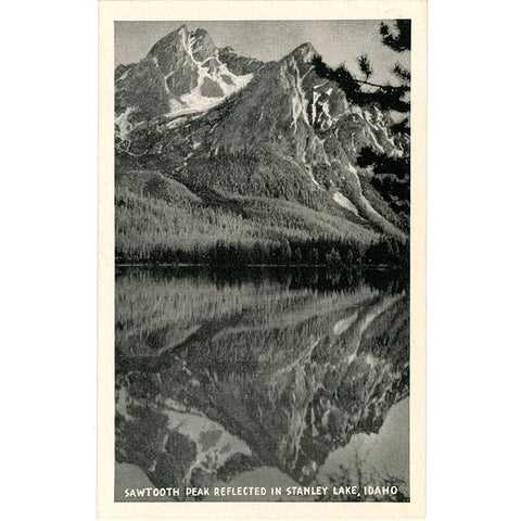 Sawtooth Peak Reflected in Stanley Lake Custer County Idaho Vintage Postcard (unused) - Vintage Postcard Boutique