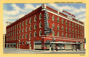 Shreveport Louisiana Jefferson Hotel Vintage Postcard (unused)