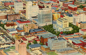 Shreveport Louisiana Aerial View of Business Center Vintage Postcard 1954