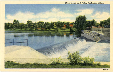 Rochester Minnesota Silver Lake & Falls Vintage Postcard (unused) - Vintage Postcard Boutique