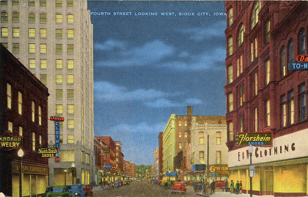 Sioux City Iowa Fourth Street Looking West at Night Vintage Postcard (unused) - Vintage Postcard Boutique