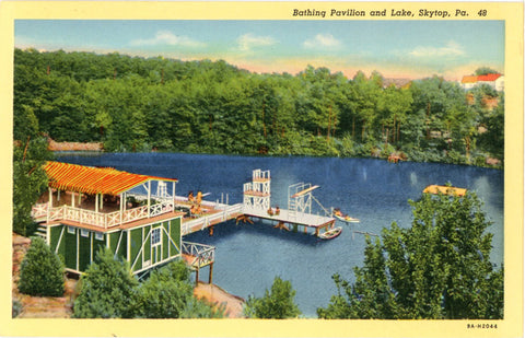 Pennsylvania Skytop Bathing Pavilion and Lake Vintage Postcard (unused) - Vintage Postcard Boutique