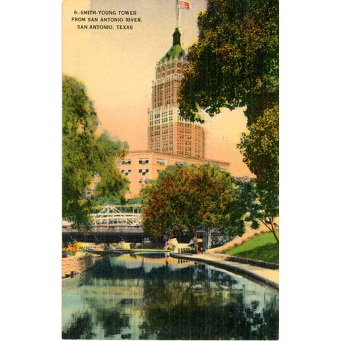 San Antonio Texas Smith-Young Tower from River Vintage Postcard 1945 - Vintage Postcard Boutique