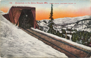 Train Snowsheds Sierra Nevada Ogden Oregon Route Vintage Postcard 1916 - Vintage Postcard Boutique