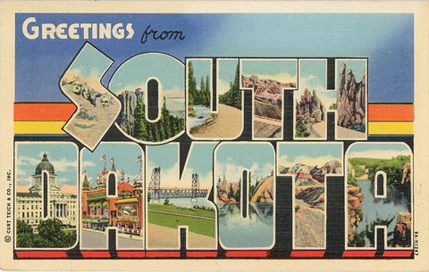South Dakota Large Letter Vintage Linen Greetings Postcard 1943 - Vintage Postcard Boutique