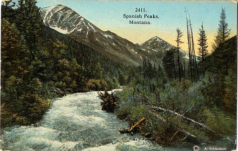Spanish Peaks Montana Vintage Postcard circa 1910 (unused) - Vintage Postcard Boutique