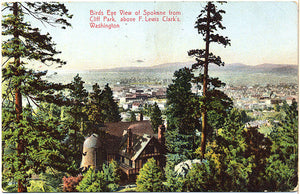 Spokane Washington Bird's Eye View from Cliff Park Vintage Postcard 1908 - Vintage Postcard Boutique