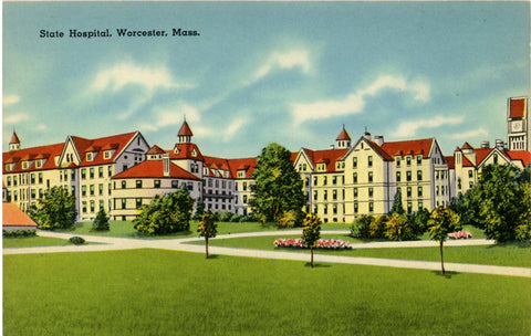 Worcester Massachusetts State Hospital 1940s Vintage Postcard (unused) - Vintage Postcard Boutique