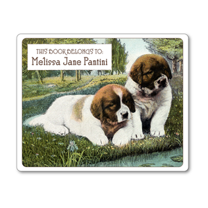 St. Bernard Puppies Vintage Personalized Bookplates - DOG LOVER GIFT - Vintage Postcard Boutique