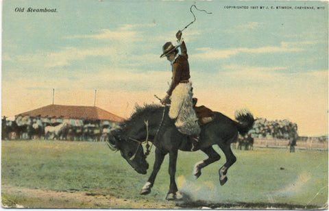Old Steamboat Wyoming Cowboy Rodeo Vintage Postcard 1907 - Vintage Postcard Boutique