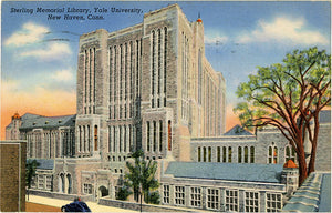 Yale University New Haven Connecticut Sterling Memorial Library Vintage Postcard 1944