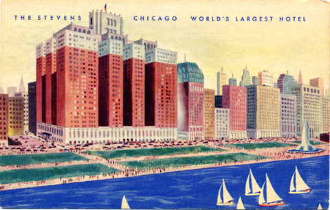 Chicago Illinois Stevens Hotel Grant Park Vintage Postcard (unused) - Vintage Postcard Boutique