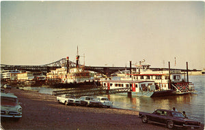 St. Louis Missouri Riverboats Downtown Riverfront Vintage Postcard
