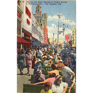 St. Petersburg Florida Central Avenue People Cars Vintage Postcard 1951 - Vintage Postcard Boutique