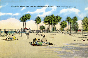 St. Petersburg Florida Municipal Bathing Beach Tampa Bay Vintage Postcard (unused) - Vintage Postcard Boutique