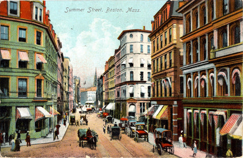 Boston Massachusetts Summer Street Horses Vintage Postcard 1909 - Vintage Postcard Boutique