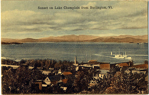 Burlington Vermont Sunset on Lake Champlain Vintage Postcard (unused) - Vintage Postcard Boutique