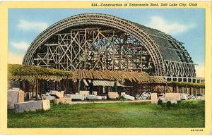 Morman Tabernacle Temple Roof Construction Salt Lake City Utah Vintage Postcard (unused)
