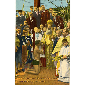 Tarpon Springs Florida Blessing from Archbishop on Epiphany Day Vintage Postcard (unused)