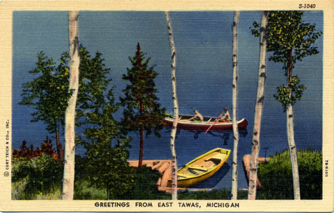 East Tawas Michigan Lake Boating Scene Canoes Vintage Postcard (unused) - Vintage Postcard Boutique