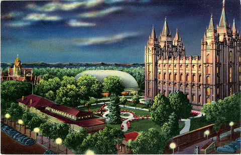 Mormon Temple Square Salt Lake City Utah Vintage Postcard circa 1951 (unused) - Vintage Postcard Boutique
