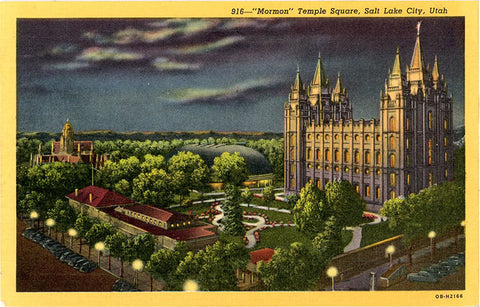 Salt Lake City Utah Mormon Temple Square at Night Vintage Postcard (unused) - Vintage Postcard Boutique