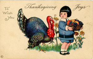 Thanksgiving Joys Turkey & Little Boy Vintage Postcard circa 1910 - Vintage Postcard Boutique