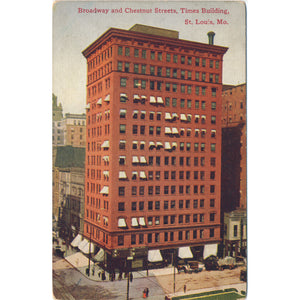 St. Louis Missouri Times Bldg on Broadway Street Vintage Postcard (unused) - Vintage Postcard Boutique