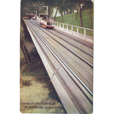 Rock Island Illinois Toboggan Slide Blackhawks Watch Tower Vintage Postcard 1908 - Vintage Postcard Boutique