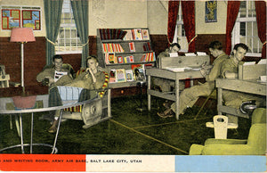Salt Lake Utah Army Air Base Writing Room Vintage Postcard (unused)