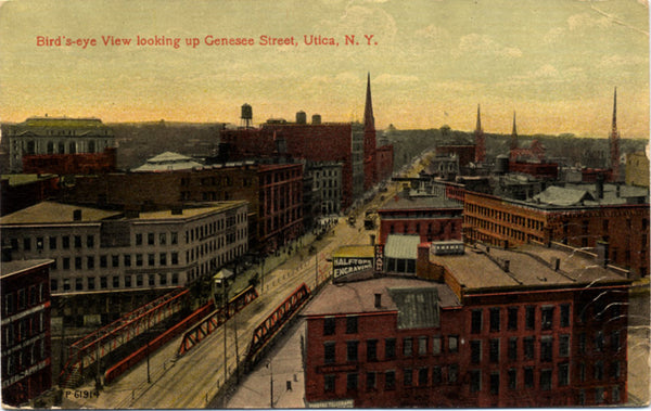 Genesee Street Bird's-Eye View Utica New York Postcard 1913 - Vintage Postcard Boutique