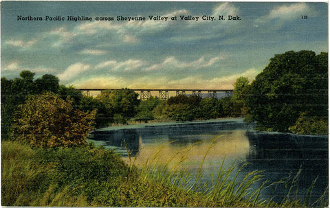 Valley City North Dakota Northern Pacific Highline – Sheyenne Valley Vintage Postcard (unused) - Vintage Postcard Boutique