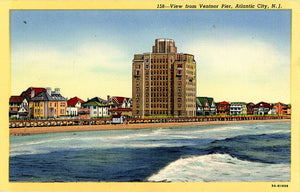 Atlantic City New Jersey View from Ventnor Pier Vintage Postcard (unused) - Vintage Postcard Boutique