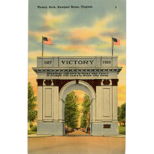 Newport News Virginia Victory Arch Vintage Postcard (unused) - Vintage Postcard Boutique