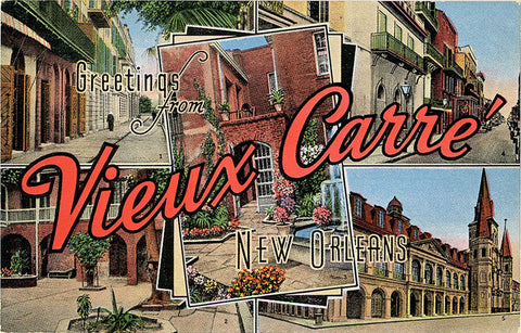 New Orleans Louisiana Vieux Carre Large Letter Vintage Postcard circa 1940s (unused) - Vintage Postcard Boutique