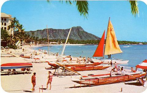 Waikiki Beach Honolulu Hawaii Vintage Postcard (unused)