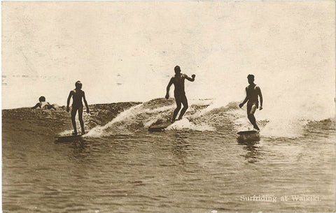 Surf Riding at Waikiki Honolulu Hawaii Surfing Vintage RPPC Postcard 1925