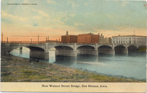 Des Moines Iowa New Walnut Street Bridge Vintage Postcard (unused) - Vintage Postcard Boutique
