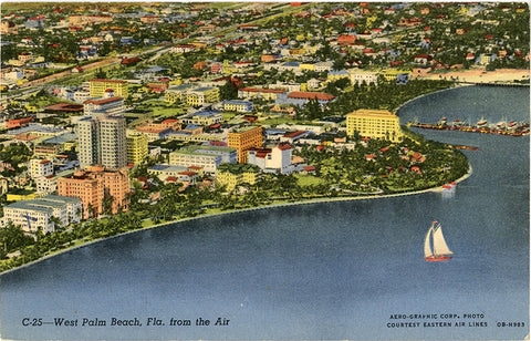 West Palm Beach Florida Aerial Vintage Postcard 1947 - Vintage Postcard Boutique