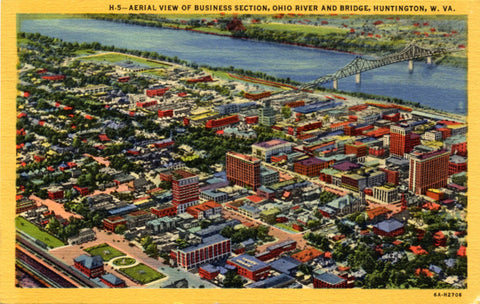 Huntington West Virginia Business Section Ohio River Vintage Postcard 1949 - Vintage Postcard Boutique