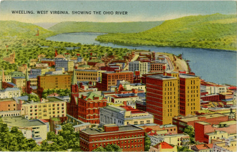 Wheeling West Virginia & Ohio River Aerial Overview Vintage Postcard (unused) - Vintage Postcard Boutique