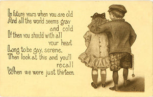 When We Were Just Thirteen Kiddo Series Vintage Postcard 1910 - Vintage Postcard Boutique